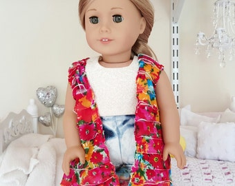 american girl doll red ruffle vest