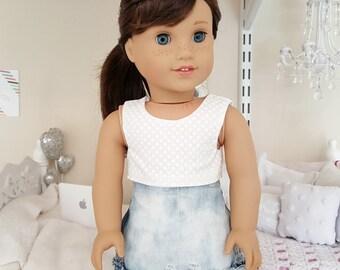 18 inch doll acid wash skirt
