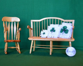Dollhouse Miniature St. Patrick's Day Shamrock Pillows Set of three