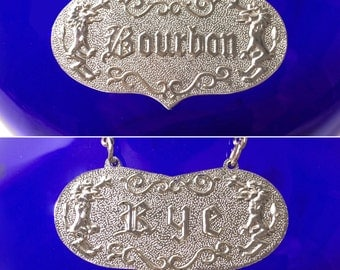 Vintage Bourbon/Rye Reversible Decanter Label Liquor Tag