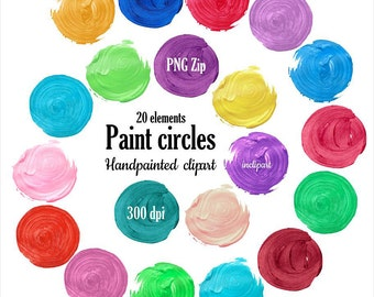 Clipart paint circles. Digital hand painted oil, acrylic circle, background for logo clip art. Instant download. PNG format. Commercial use.