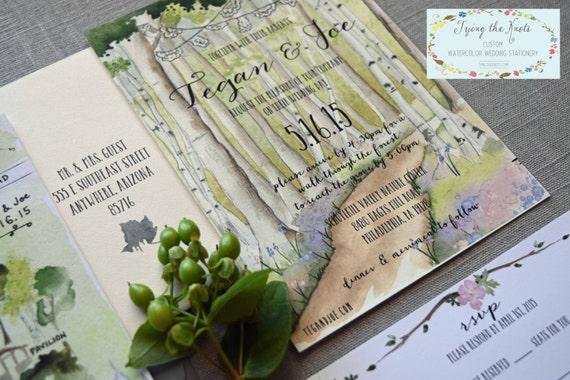 Nature Inspired Wedding Invitation Custom Watercolor