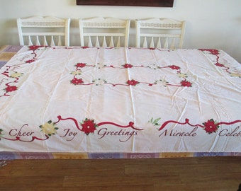 "Embroidered Tablecloth,  Christmas Tablecloth, Word Motifs, Good Condition- 65"" by 50"" ""Joy Greetings"" Miracle - Celebrate"""