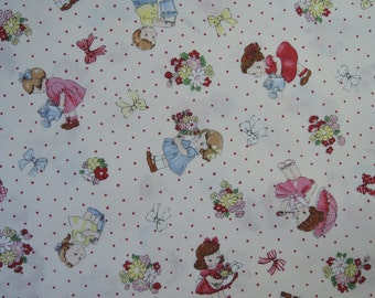 "Fat Quarter of 2016 Lecien Old New 30's Collection Spring Kids on Off White Background. Approx. 18"" x 22"" Made in Japan"