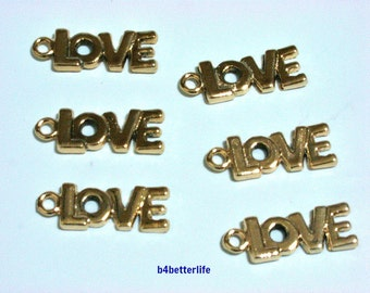 "Lot of 24pcs ""LOVE"" Gold Color Plated Metal Charms. #XX721."