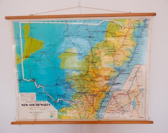 Vintage School Map of New South Wales, Australia