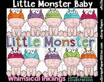 Little Monster Baby Clip Art - Commercial Use, Digital Image, Png, Clipart - Instant Download - Costume Baby, Dress Up, Baby Hat, Nursery