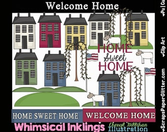 Welcome Home Prim Clip Art - Commercial Use, Digital Image, Clipart - Instant Download - Primitive, Salt Box House, Willow Tree, Sheep, Fla