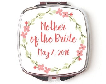 Mother of the Bride Gift - Compact Mirror - Mother of the Bride Compact Mirror  - Wedding Compact Makeup Mirror