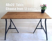 48x20 Hand-Finished Wood Desk on Ikea Trestle Legs. Size: 48x20. Choose any color!