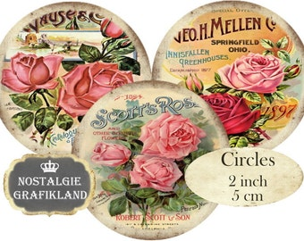 Roses Shabby Chic Vintage Flowers Circles 2 inch  Instant Download digital collage sheet C216
