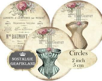 French Corsets Shabby Chic Fashion Mode Lingerie Circles 2 inch Vintage Instant Download digital collage sheet C198 Corset Fashion