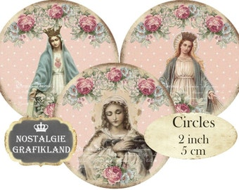 Shabby Chic Madonna Holy Mary Holycards Christmas Circles 2 inch Instant Download digital collage sheet C266 Noel