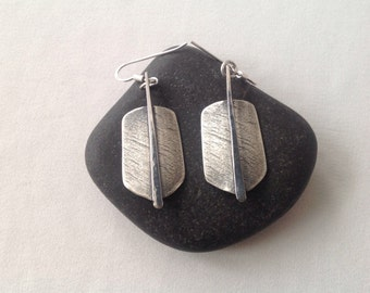 Textured earrings silver, textures earrings,  Earrings textured, sterling  Silver earrings, simple, handmade, silver earrings patina,