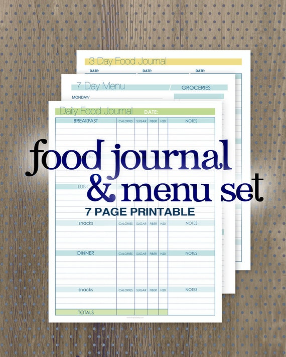 ... Day Food Journal 7 Day Menu Planner Grocery Lists Food Diary Printable