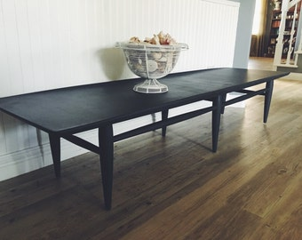 Mid Century Coffee Table - Dark Gray/Charcoal Coffee Table - Surfboard Coffee Table - Painted Coffee Table - Refashioned Coffee Table