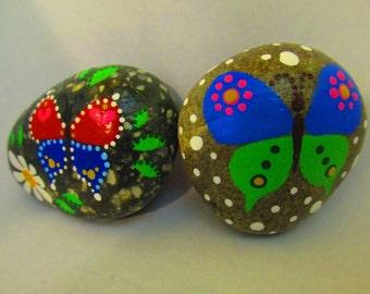 Hand Painted Rocks - Butterflies