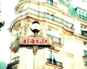 Paris, Paris Wall Art, Mint and Cream, Paris Print, Metro sign, Mint Green, Green,