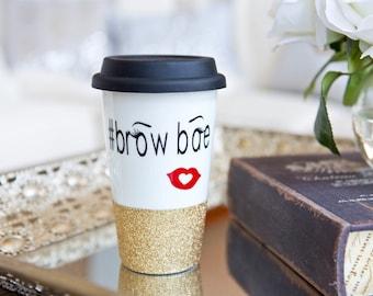 BROWBAE // eyebrow inspired travel mug