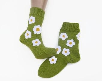 Hand knit socks Knit winter socks Cozy warm socks Woman socks Cozy wool