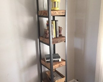 Reclaimed lumber and steel shelves