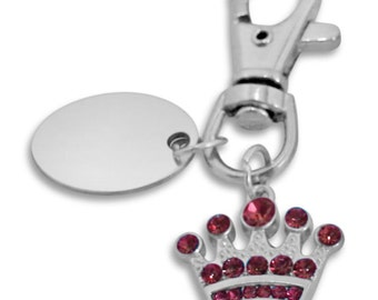 Custom engraved Crown with pink stones keyring keychain in gift pouch - PL182