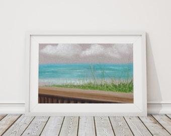 By the Sea Print from Pastel Drawing