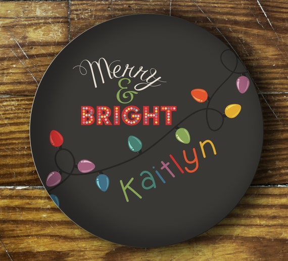 Personalized Dinner Plate or Bowl - Merry & Bright