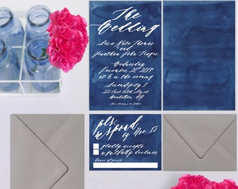 Indigo Blue Wedding Invitations / Watercolor Wedding Invitations