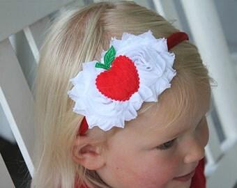 Red apple headband - back to school headband - satin lined headband - girls headband - teacher headband -apple picking headband - fall bow