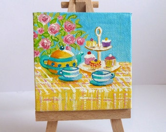 Tiny Tea For Two Original Acrylic Painting on Canvas, Miniature Painting