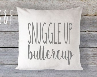 Snuggle Up Buttercup Grey Natural Pillow 16 x 16 Pillow Cover Zip Closure