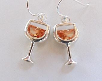 White Wine Earrings, Sterling Silver, Cubic Zirconia, Dangle, Wine Lover
