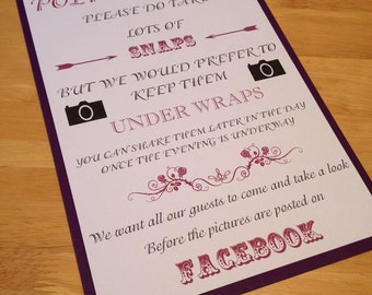 Wedding facebook no photo signs a4 print vintage