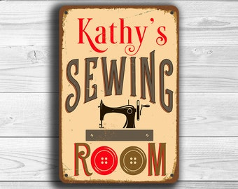 CUSTOM SEWING ROOM Sign, Personalized Sewing Room Sign, Vintage style Sewing Room Sign, Customizable Signs, Sewing Room Decor, Sewing Room