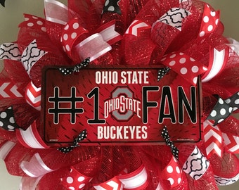 Ohio State Buckeyes Football Sports Fall Red and White Mesh Wreath