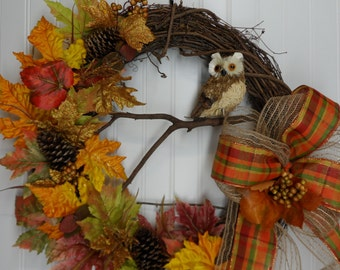 Fall Grapevine Wreath, Owl Grapevine Wreath, Colorful Fall Leaves and Pine Cones, Front Door Wreath, Owl Wreath, Autumn Leaves, Large Bow