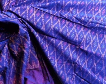Handwoven Mudmee 100% Cotton from Thailand. Shot purple gold. 1.8 metres/ 2 yards