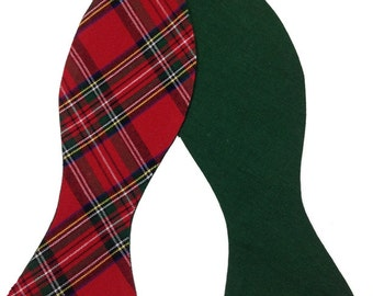 Red & Green Plaid Bow Tie, Tartan Bow Tie, Plaid Bow Tie, Mens Bow Tie, Bow Tie, Mens Self Tie Bow Tie, Scottish Bow Tie, Novelty Bow Tie
