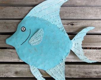 Tropical Fish Metal Sculpture - Tropical Fish, Wall Art, Fish Art, Beach Decor, Beach Art, Shabby Chic