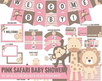 Pink Safari Baby Shower package, all you need to decor your safari Baby Shower - Girl Baby Shower - Printable PDF files.