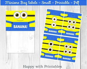 Minions Bag label - Minions treat bag label - Minion Bob bag label - Minion Kevin bag label - Minions party - Minions goodie bag label