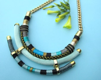 Tribal necklace rope necklace Statement necklace Rope necklace Geometric necklace Edgy necklace  Bib necklace thread  wrapped jewelry
