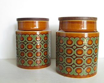 Vintage Hornsea Bronte Canisters with Teak Lids Pair - Blank Container with Lid - Made in England