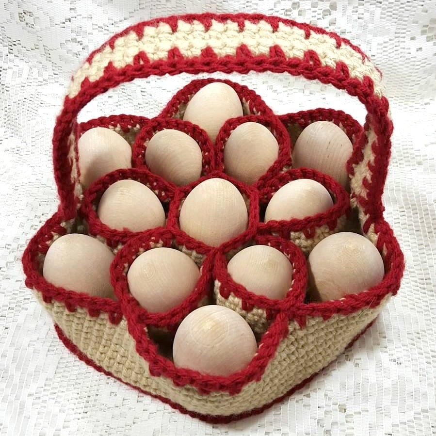 Crochet Bakers Dozen Egg Carrying Basket Egg by KnotJustAnyBag