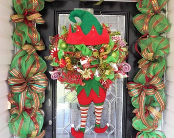 Christmas Elf Wreath with Matching Garland, Holiday Wreaths, Christmas Decoration, Front Door Wreaths, Pre-Order