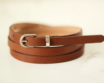 Free shipping! Leather belt, brown belt, woman belt, brown womans belt, skinny belt, waist belt, narrow belt, woman leather belt