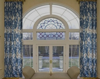 Paisley Ikat Drapes Custom made curtains small window curtains through 2 story extra long drapes Choose your size
