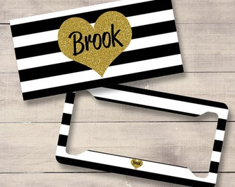 Black, White and Gold Striped Car Tag, Monogram License Plate and Frame, Personalized for Teenage Girls, Monogram Car Tag (0027)