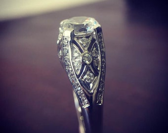 Art Deco Engagement Ring Diamond Simulant Sterling Silver Pave Engraved Handmade